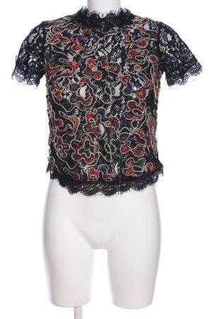 Zara Trafaluc Spitzenbluse schwarz-rot Mustermix Elegant