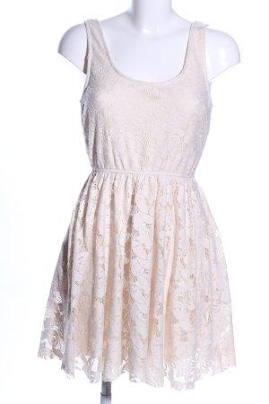 Zara Trafaluc Abito in pizzo bianco sporco motivo floreale stile casual