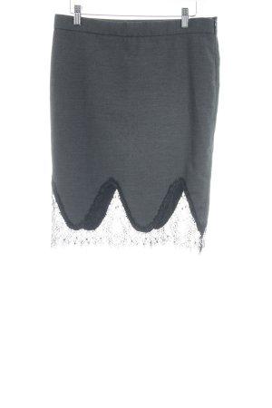 Zara Trafaluc Kanten rok antraciet-zwart zakelijke stijl