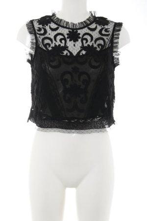 Zara Trafaluc Spitzentop schwarz Blumenmuster Elegant