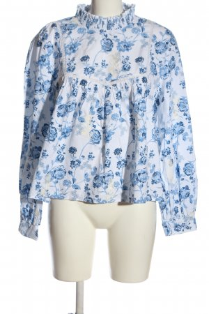 Zara Trafaluc Stand-Up Collar Blouse white-blue allover print business style