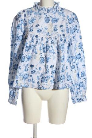 Zara Trafaluc Blouse à col montant blanc-bleu imprimé allover