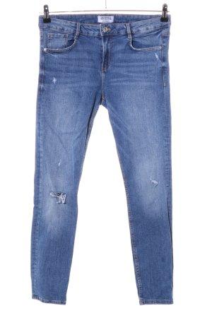 Zara Trafaluc Stretch jeans blauw straat-mode uitstraling