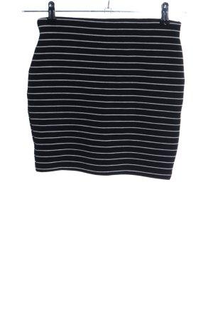 Zara Trafaluc Stretchrock schwarz-weiß Streifenmuster Casual-Look