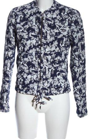 Zara Trafaluc Strickjacke blau-weiß Allover-Druck Casual-Look