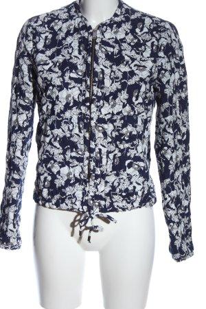 Zara Trafaluc Veste en tricot bleu-blanc imprimé allover style décontracté