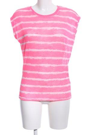 Zara Trafaluc Strickshirt pink-wollweiß Streifenmuster Casual-Look