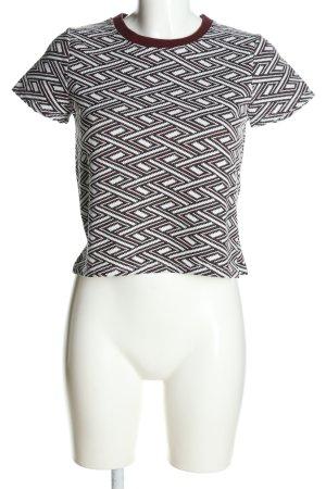 Zara Trafaluc Strickshirt braun-weiß Allover-Druck Casual-Look