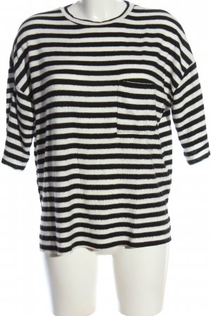 Zara Trafaluc Strickshirt schwarz-weiß Streifenmuster Casual-Look