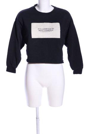 Zara Trafaluc Sweatshirt schwarz-creme Motivdruck Casual-Look