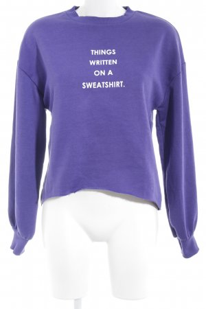 Zara Trafaluc Sweatshirt blauviolett-weiß Schriftzug gedruckt Casual-Look