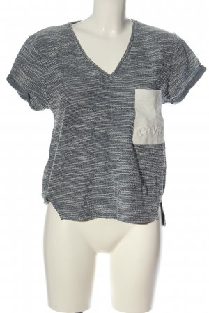 Zara Trafaluc T-Shirt blau-weiß meliert Casual-Look