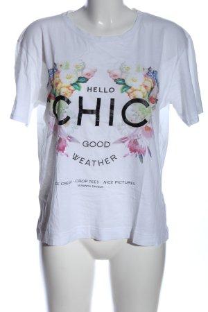 Zara Trafaluc T-Shirt weiß Blumenmuster Casual-Look