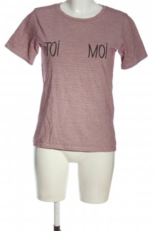 Zara Trafaluc T-Shirt pink-schwarz Schriftzug gestickt Casual-Look