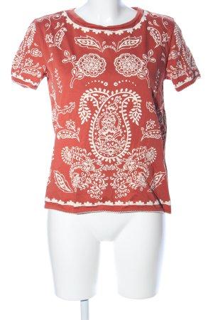 Zara Trafaluc T-Shirt rot-wollweiß abstraktes Muster Casual-Look