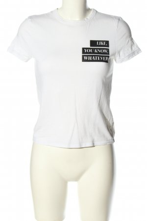Zara Trafaluc T-Shirt weiß-schwarz Schriftzug gedruckt Casual-Look