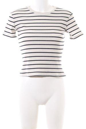 Zara Trafaluc T-Shirt weiß-schwarz Streifenmuster Casual-Look