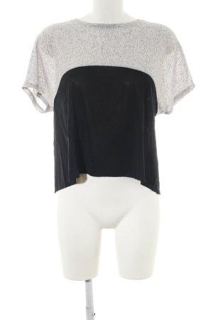 Zara Trafaluc T-Shirt schwarz-hellgrau meliert Casual-Look