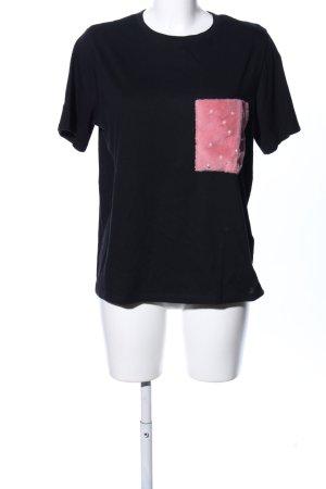 Zara Trafaluc T-Shirt schwarz Motivdruck Casual-Look