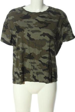 Zara Trafaluc T-Shirt khaki-schwarz Allover-Druck Casual-Look