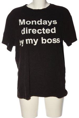 Zara Trafaluc T-Shirt schwarz-weiß Schriftzug gedruckt Casual-Look