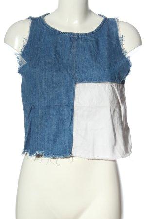 Zara Trafaluc Tanktop blauw-wit casual uitstraling