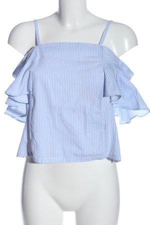 Zara Trafaluc Trägertop weiß-blau Allover-Druck Casual-Look