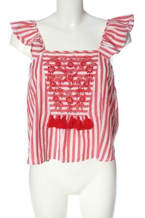 Zara Trafaluc Top met spaghettibandjes rood-wit gestreept patroon