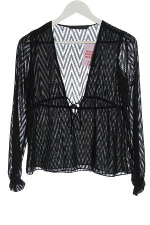 Zara Trafaluc Transparenz-Bluse schwarz Streifenmuster Casual-Look