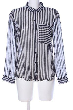 Zara Trafaluc Transparenz-Bluse schwarz-weiß Streifenmuster Casual-Look