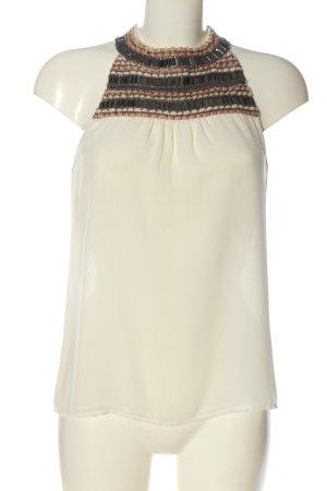 Zara Trafaluc Transparenz-Bluse wollweiß-braun Streifenmuster Elegant