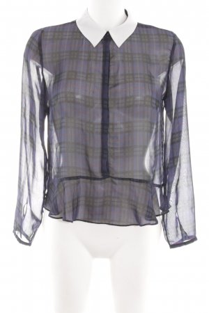 Zara Trafaluc Transparenz-Bluse lila-schwarz Karomuster Elegant