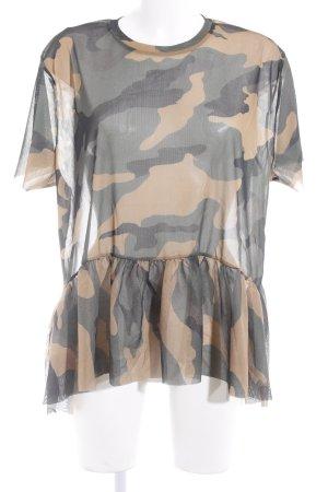 Zara Trafaluc Transparenz-Bluse Camouflagemuster Casual-Look