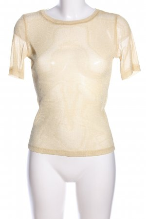 Zara Trafaluc Transparenz-Bluse wollweiß-goldfarben meliert Casual-Look