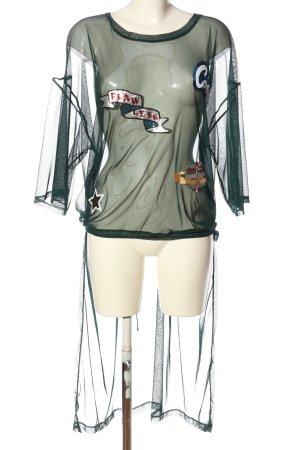 Zara Trafaluc Transparenz-Bluse grün Webmuster Casual-Look