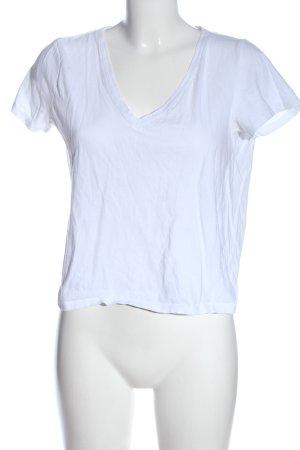 Zara Trafaluc V-Ausschnitt-Shirt weiß Casual-Look