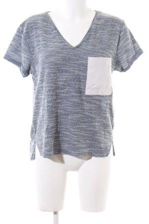 Zara Trafaluc V-Ausschnitt-Shirt hellgrau-weiß meliert Casual-Look
