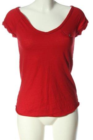 Zara Trafaluc V-Ausschnitt-Shirt rot Casual-Look