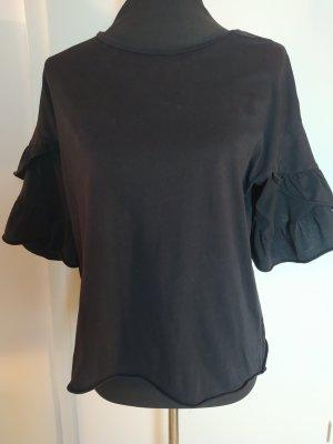 ZARA TRAFALUC Volantshirt, schwarz, Baumwolle, S, wie 36