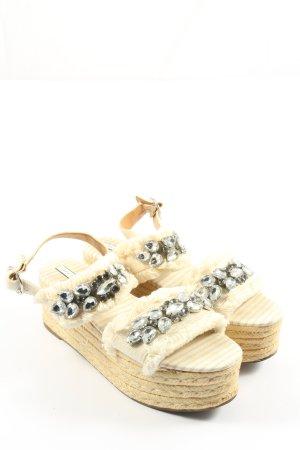 Zara Trafaluc Wedges Sandaletten wollweiß-silberfarben Casual-Look