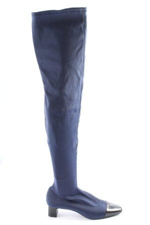 Zara Trafaluc Stivale largo al polpaccio blu stile casual