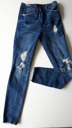 Zara Trafaluc pantalón de cintura baja azul acero