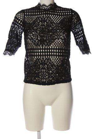 Zara Transparenz-Bluse schwarz klassischer Stil