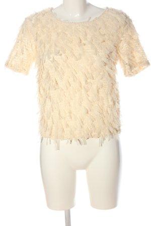 Zara Transparentna bluzka kremowy Elegancki