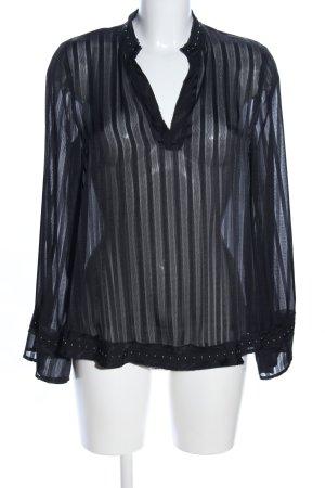 Zara Transparenz-Bluse schwarz Streifenmuster Casual-Look
