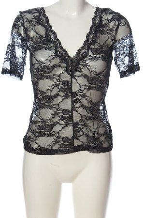 Zara Transparenz-Bluse schwarz Blumenmuster Casual-Look