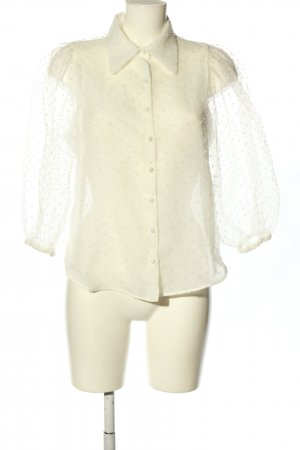 Zara Transparenz-Bluse weiß Punktemuster Casual-Look