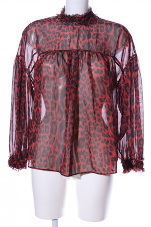 Zara Transparenz-Bluse rot-schwarz Leomuster Elegant