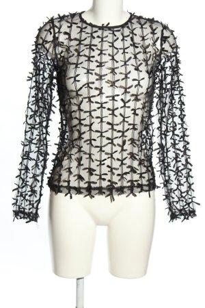 Zara Transparenz-Bluse schwarz Streifenmuster extravaganter Stil