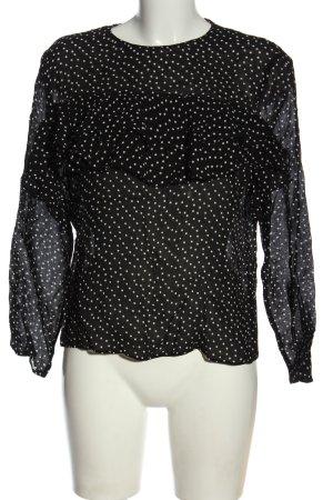 Zara Transparenz-Bluse schwarz-weiß Punktemuster Casual-Look